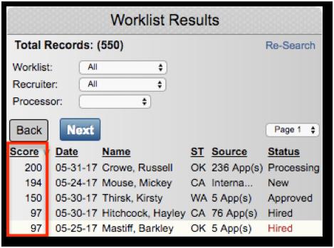Tenstreet applicant scoring system