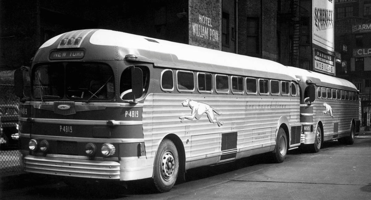 Old Black and White Greyhound Bus